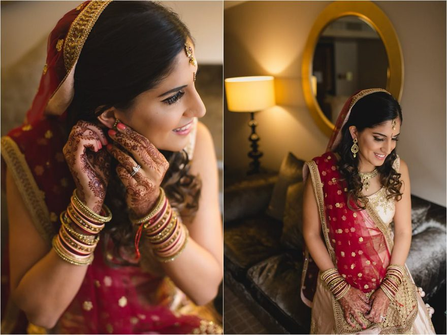 Indian bride preparing for her Hindu wedding in London