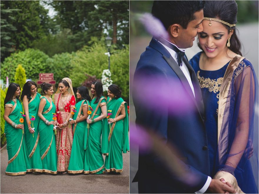 hindu bridal photo and a couple photo from an indian wedding in bhaktivedanta manor in watfor London