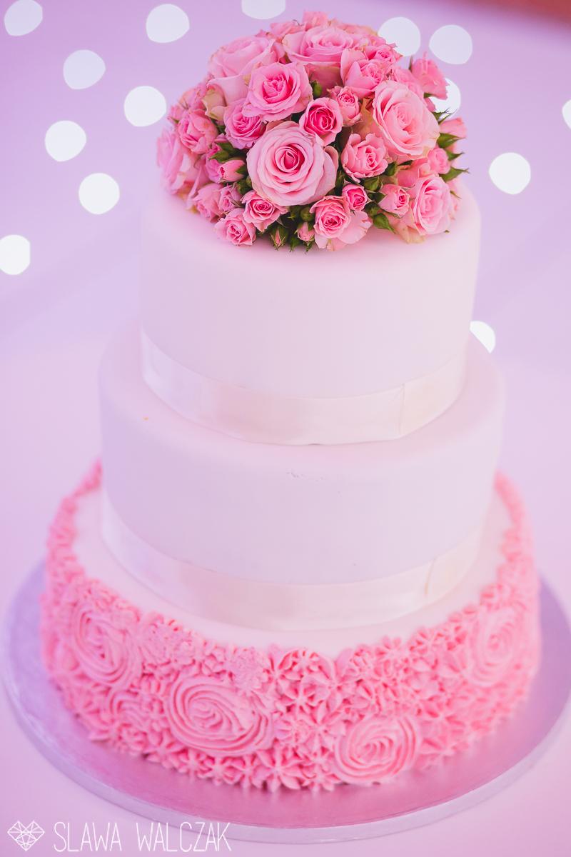cute pink wedding cake