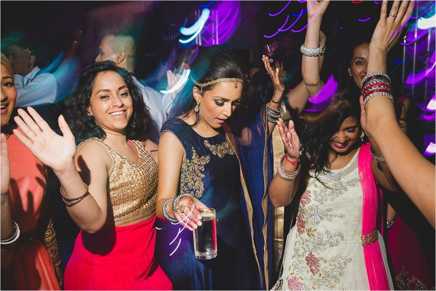 bridal party dancing during asian reception