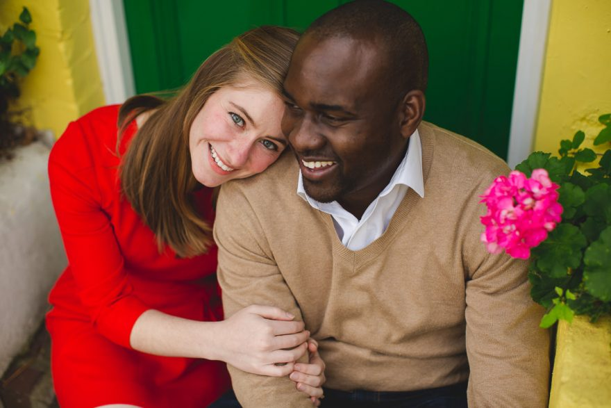 ceative and colorful photo taken during a London Chelsea engagement photo session