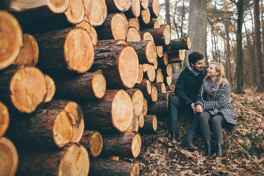 autumn destination couple photo session in the forest