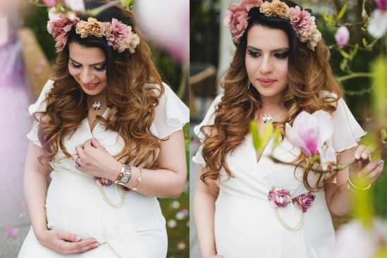 london maternity photo in between magnolia blossom