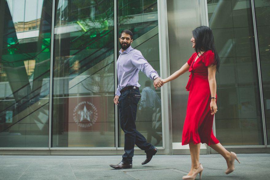 natural london engagement photos of an insian south asian couple