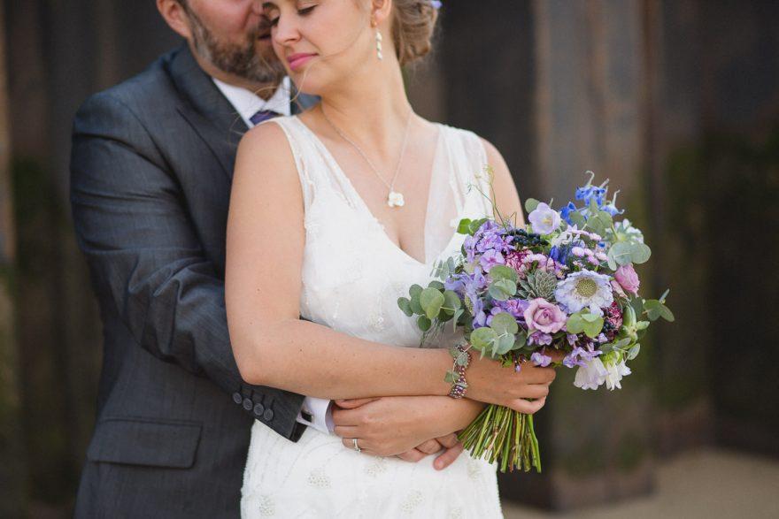 bride holding her wedding bouquet at a wedding in Greenwich Yach Club London