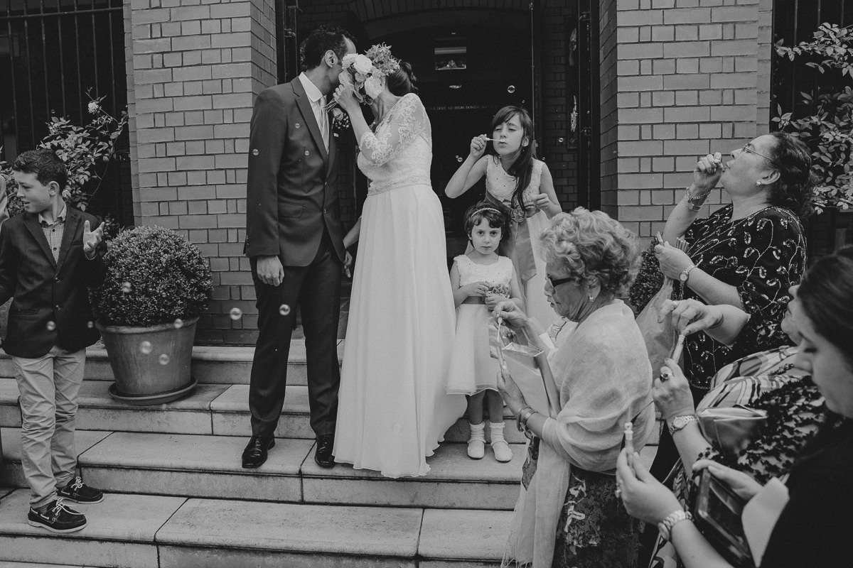 bubble exit from the church during london wedding