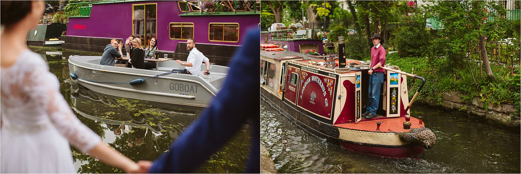 barges on a canal in Little venice wedding