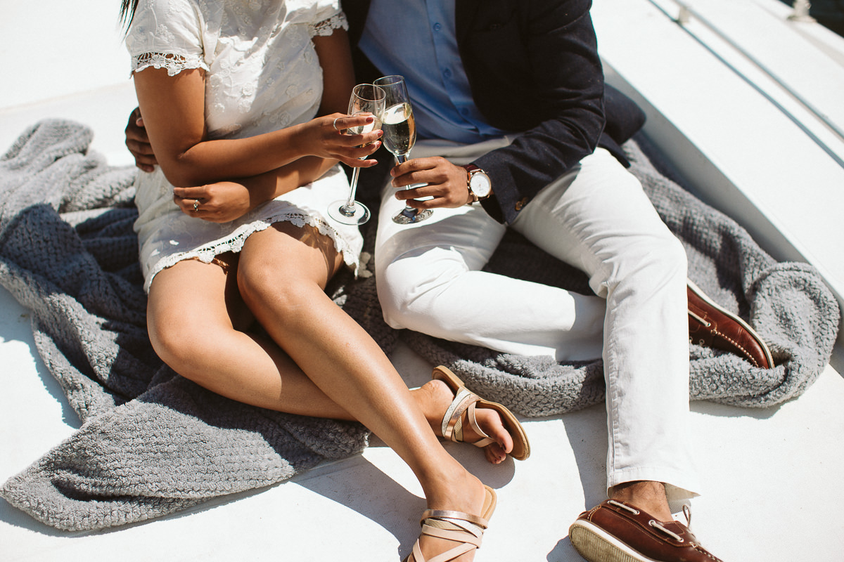 London Surprise Proposal with champagne on a Yacht on a River Thames