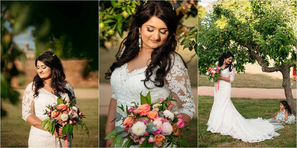 Bridal portaits during a wedding in Hexton Manor Hertfordshire