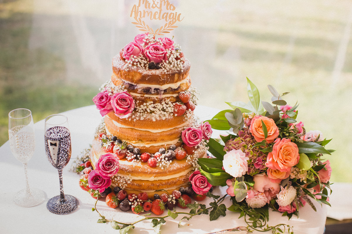 naked cake at a wedding in Hexton Manor