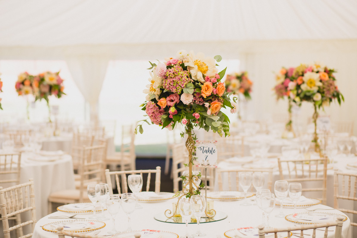 Marquee decor at Hexton Manor in Hertfordshire