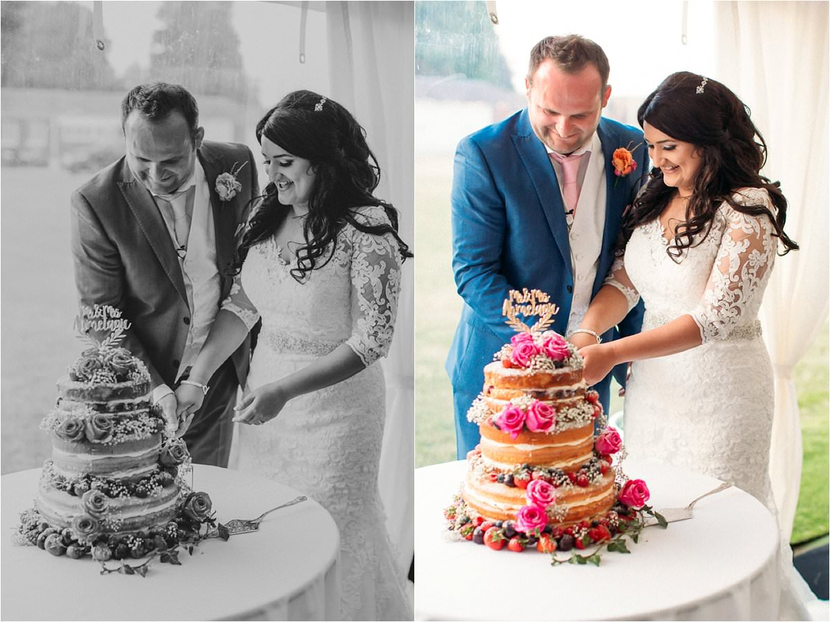 cake cutting at a wedding in Hexton Manor