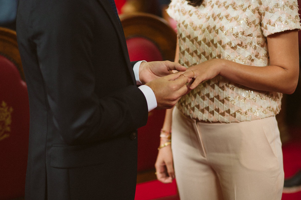 ring exchange during a Islington Towh Hall Wedding