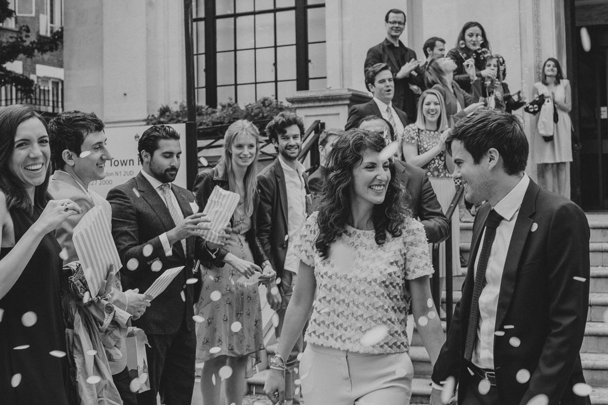 confetti throwing at the Islington Town Hall and the Drapers Arms wedding