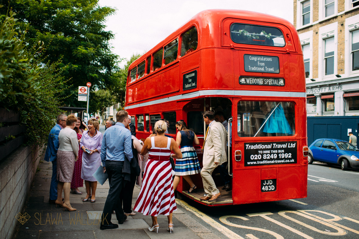 London doubledecker Routmaster bus taking guests to the Amadeus Center