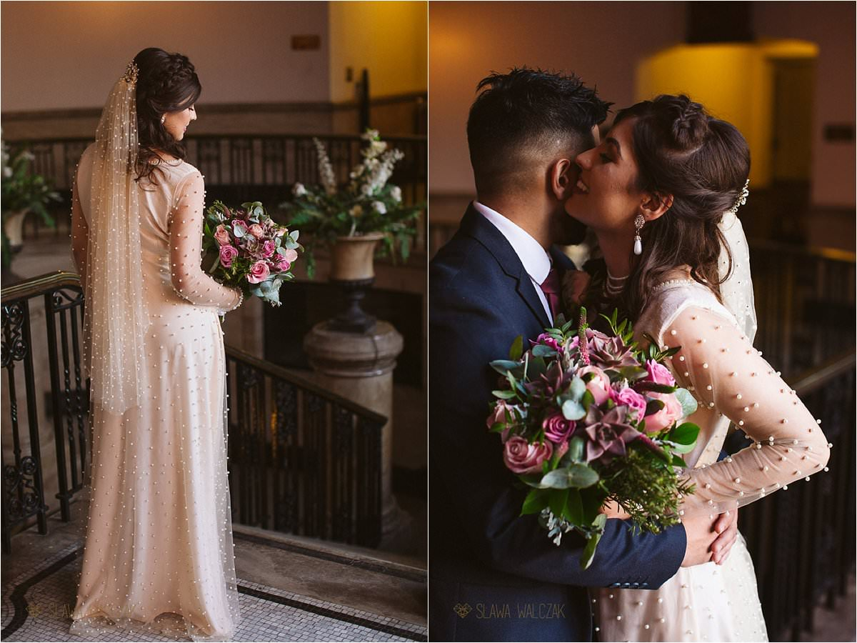 romantic couple portraits taken at a wedding In Ealing Town Hall London