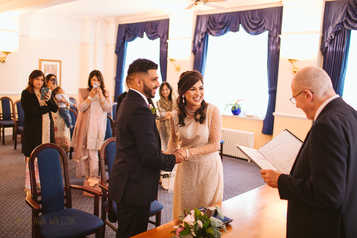 civil ceremony at Ealing Town Hall in London