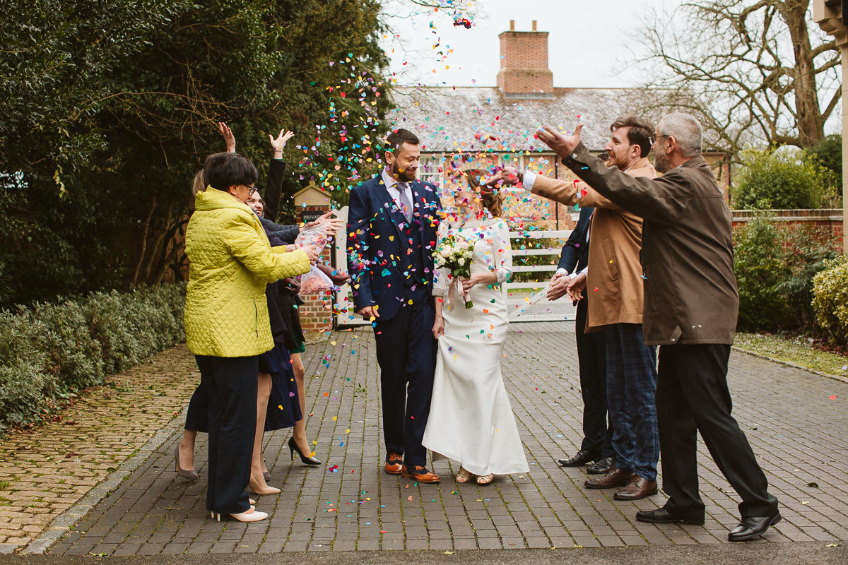 confetti shot at an intimate wedding in Marlow Buckinghamshire