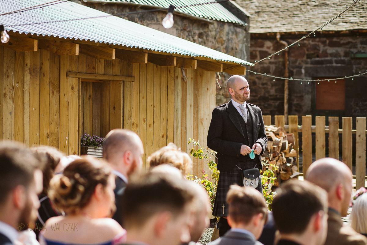 groomsman at Cockdurno Farm Wedding Photography Edinburgh Scotland