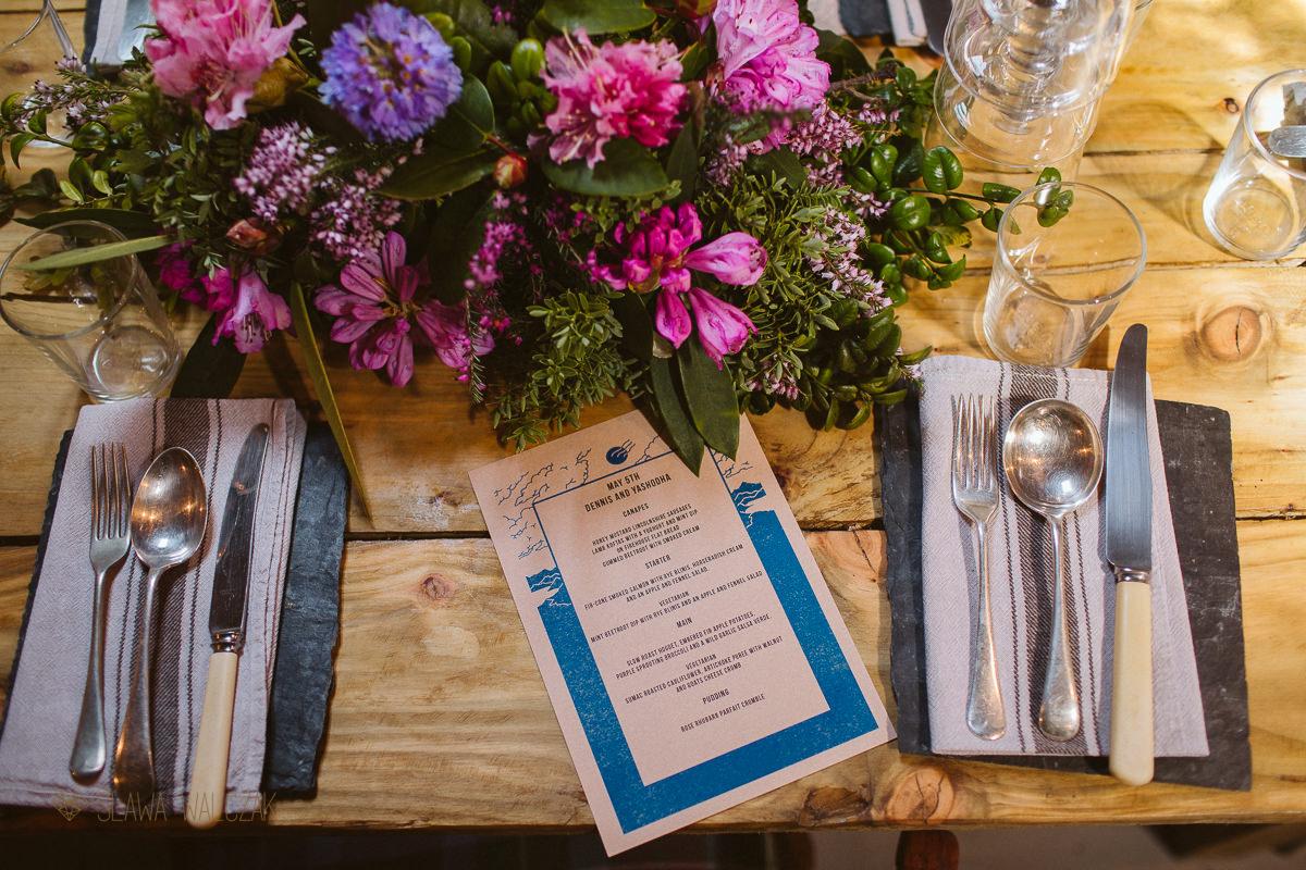 table decoration at Cockdurno Farmhouse wedding in Scotland