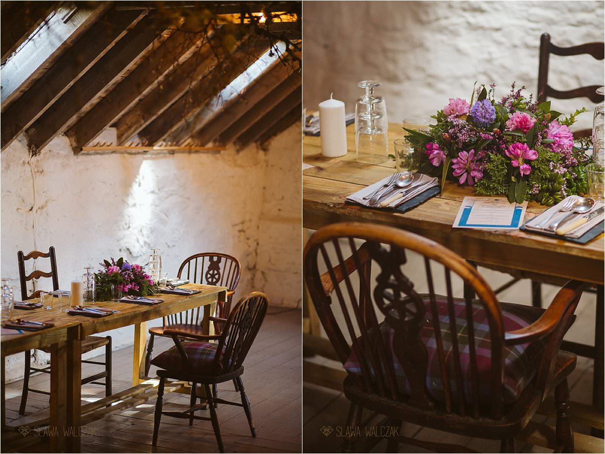 rustic wedding decoration at Cockdurno Farmhouse in Balerno Scotland