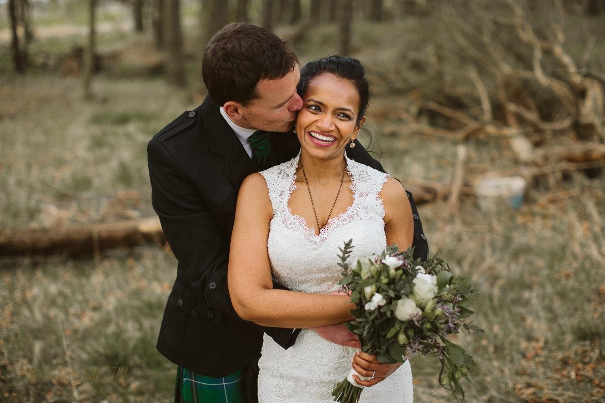 couple shoot at a farm wedding in Scotland
