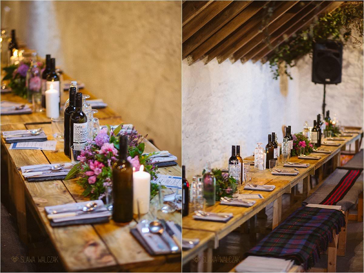 farm house rustic wedding decor in Scotland