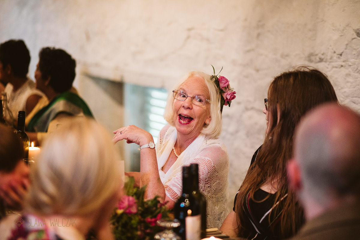 guest laughing during a Cockdurno Wedding photography