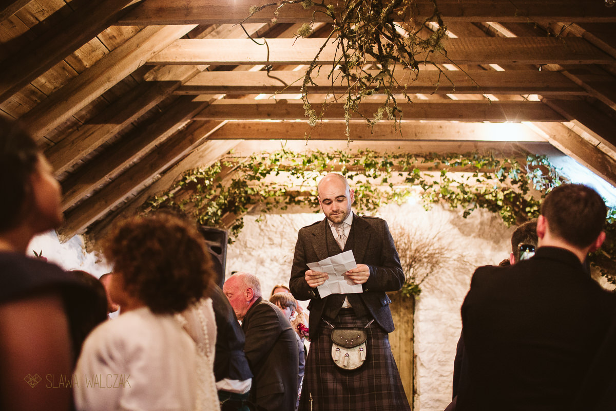 wedding photography of groom speeches at a wedding in Scotland