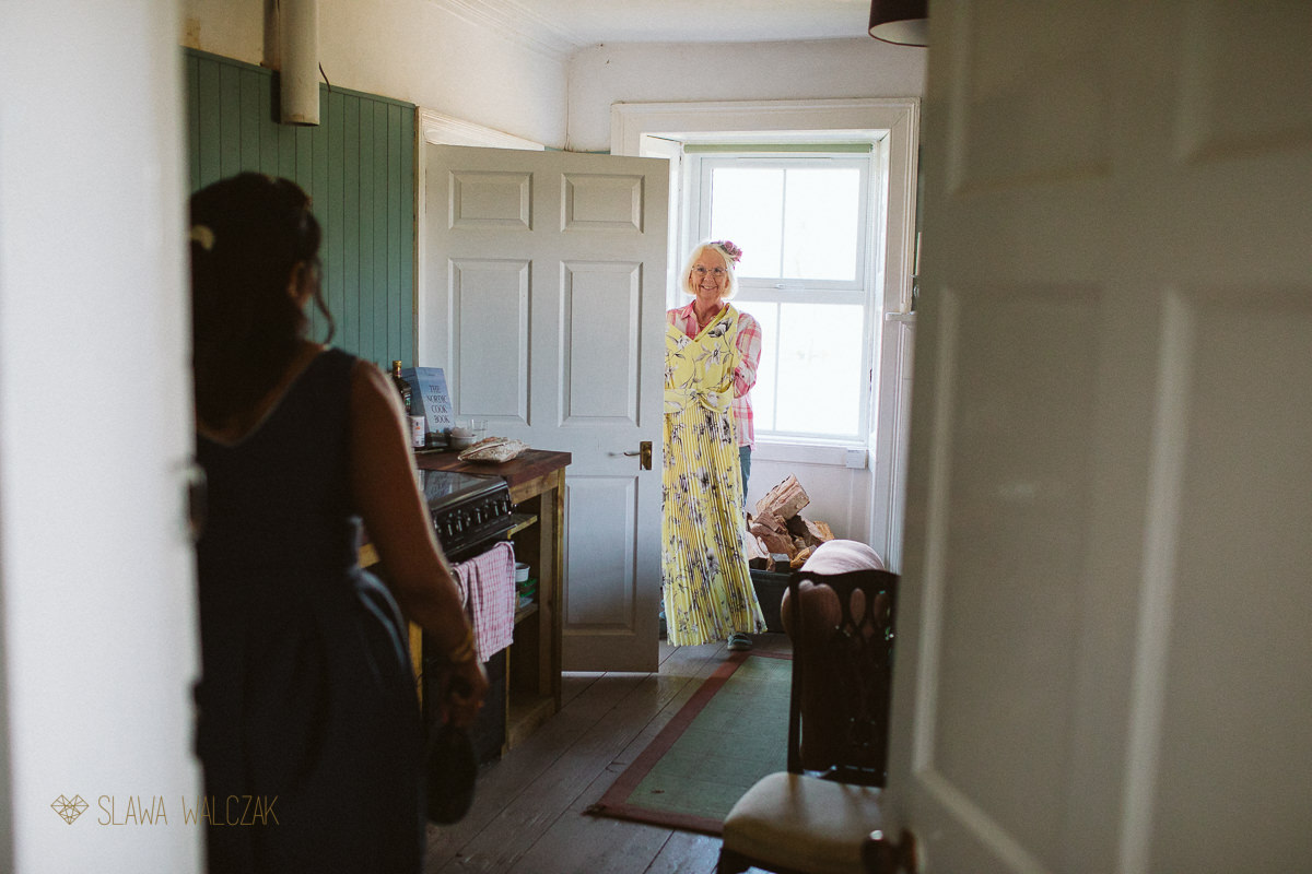 groom's mum getting ready for a humanist wedding in Cockdurno Farm Balerno