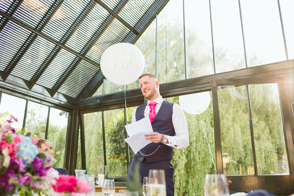 groom's speech photography at a Wedding in Waddesdon the Dairy