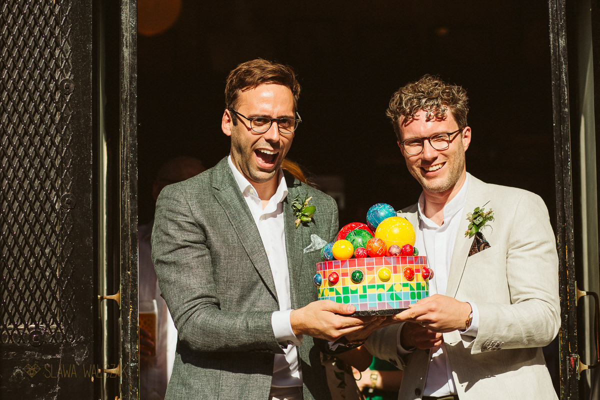 queerky cake at a same sex wedding in Hackney Town Hall