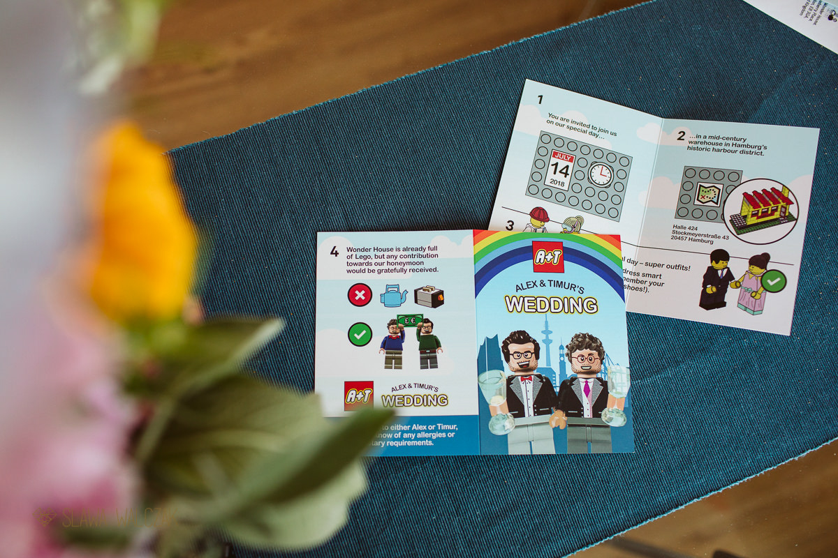 lego inspired same sex wedding invitations