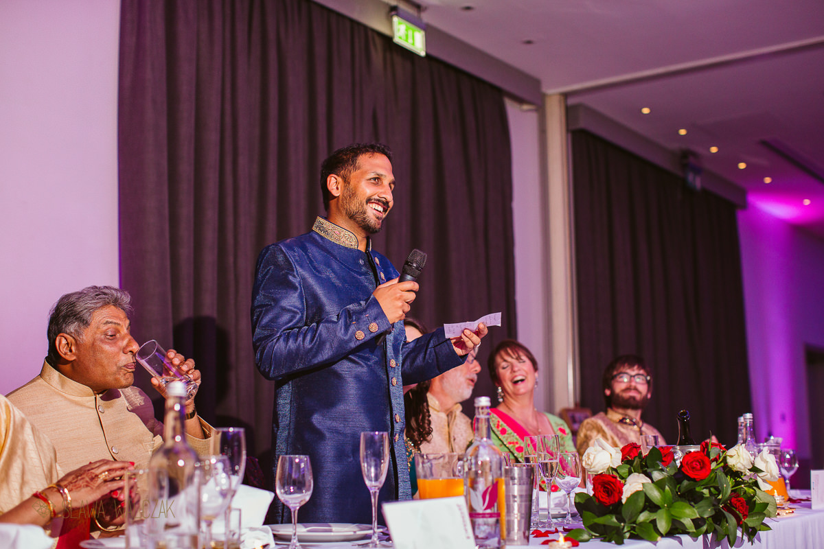 groom's sepeech at his Indian Wedding in Beaumont Estate in Windsor