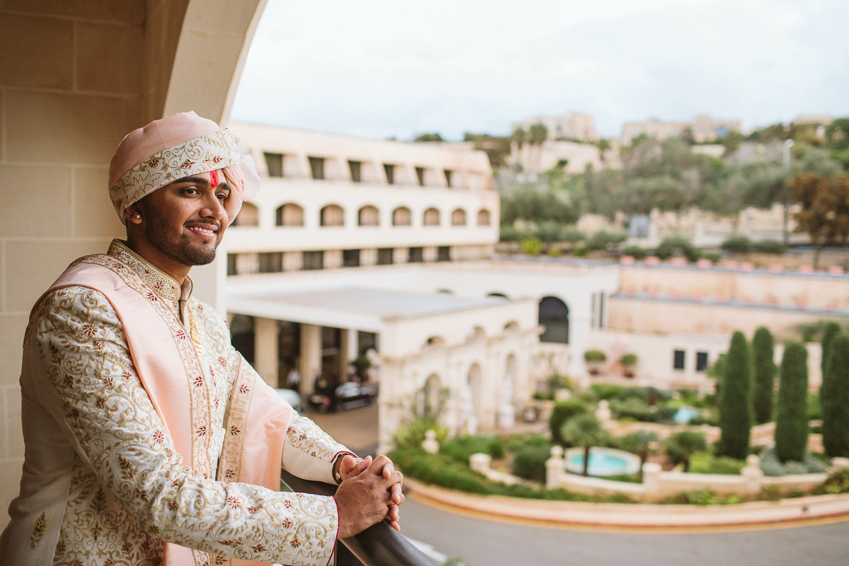 Hindu Destination wedding in Malta Groom Portraits