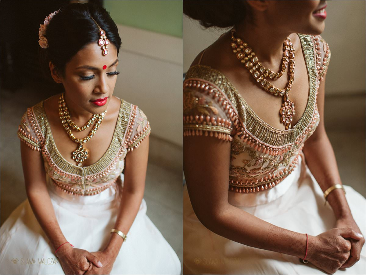 Indian bride getting getting ready for her Wedding at Chiswick House