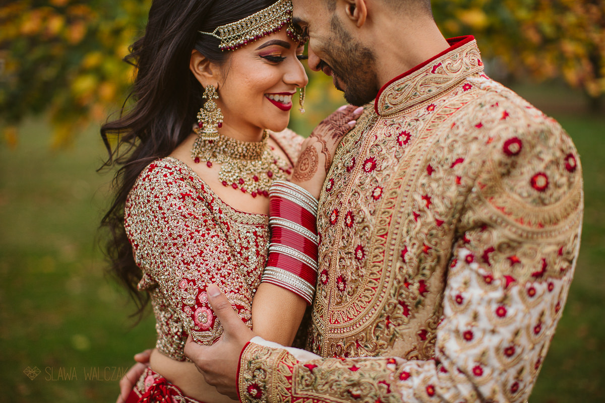 Sikh Indian Couple posing for their Wedding photos in Marylebone London Park