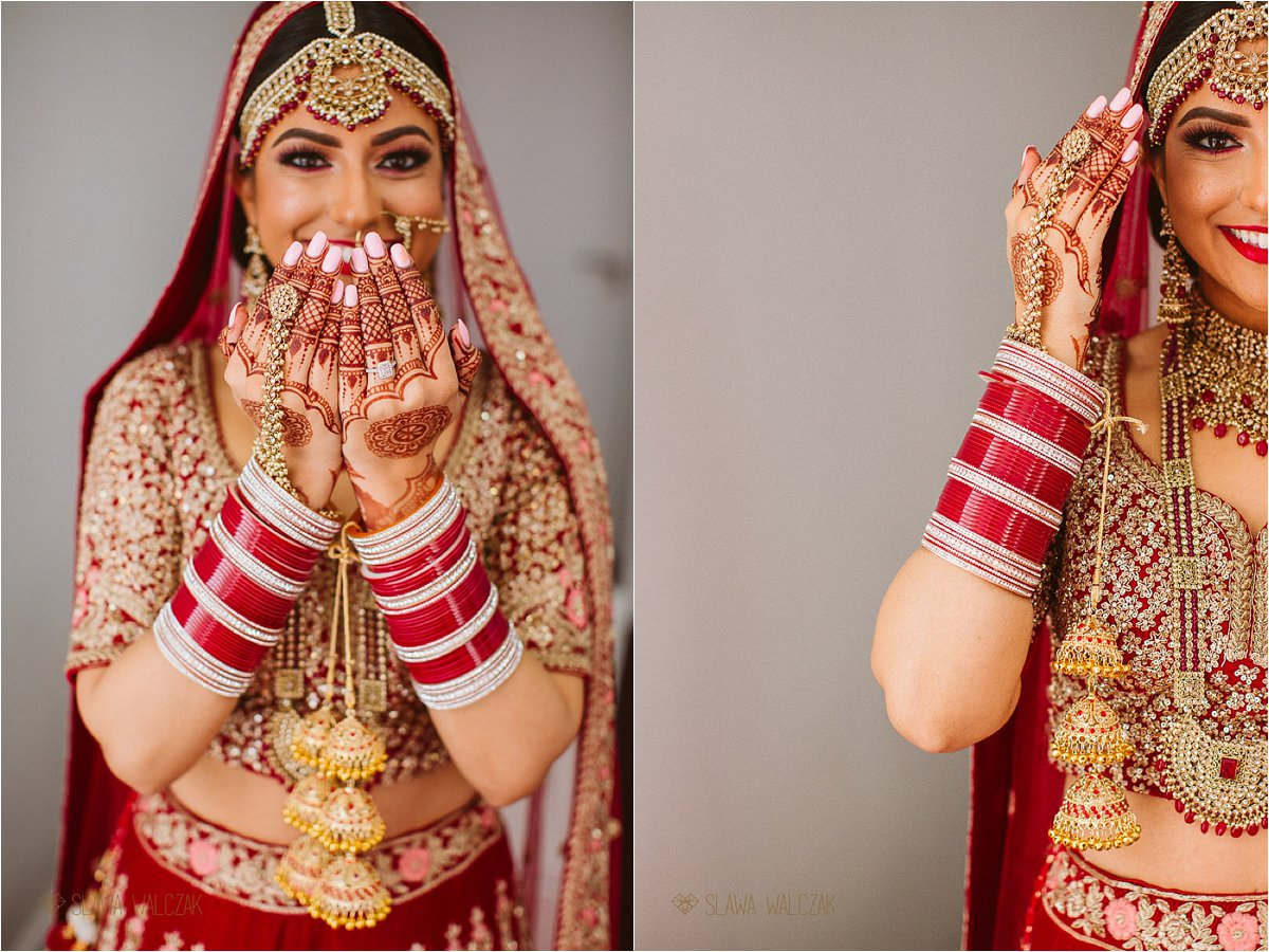 Asian Sikh bride posing for her wedding photos in London