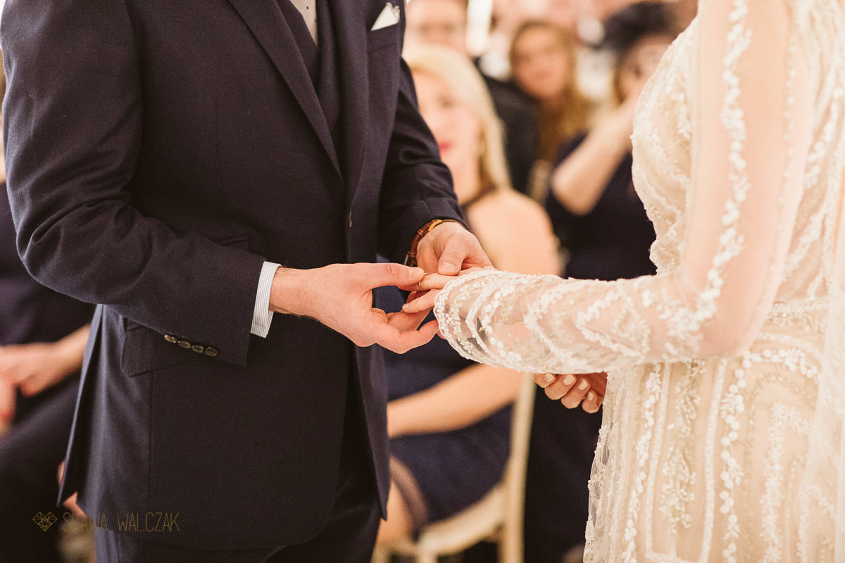 Ring exchange at a london wedding in Fulham Library