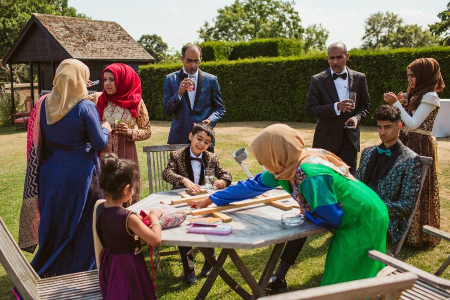 guests playing outdoor games at a wedding in Micklefield Hall