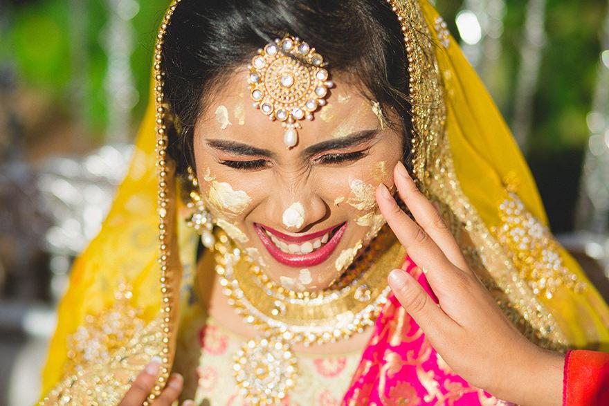 muslim bride at her pre wedding Mendhi Party in London