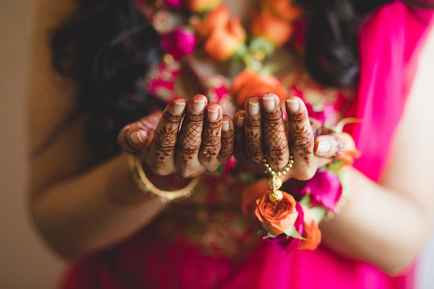henna tattoo detail of an Indian bride hands