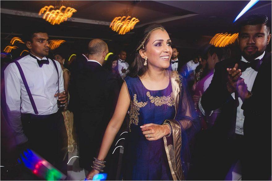 bride enjoying her wedding party