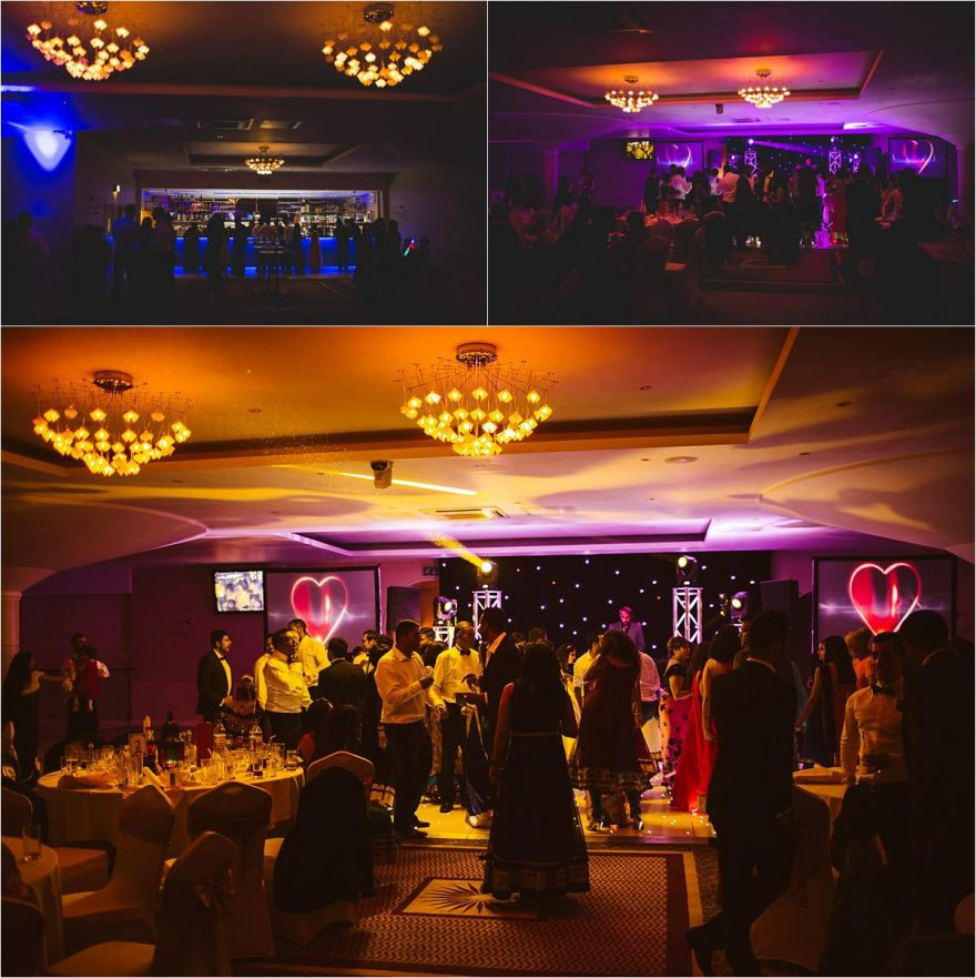 dancefloor and venue photos at an asian evening wedding reception