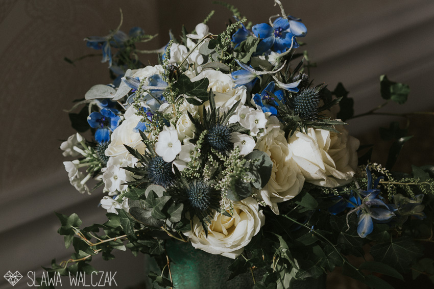 pastel wedding flowers with a blue touch