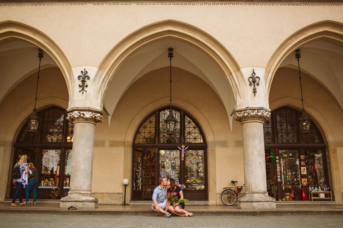 destination engagement photography taken in Sukiennice, Krakow