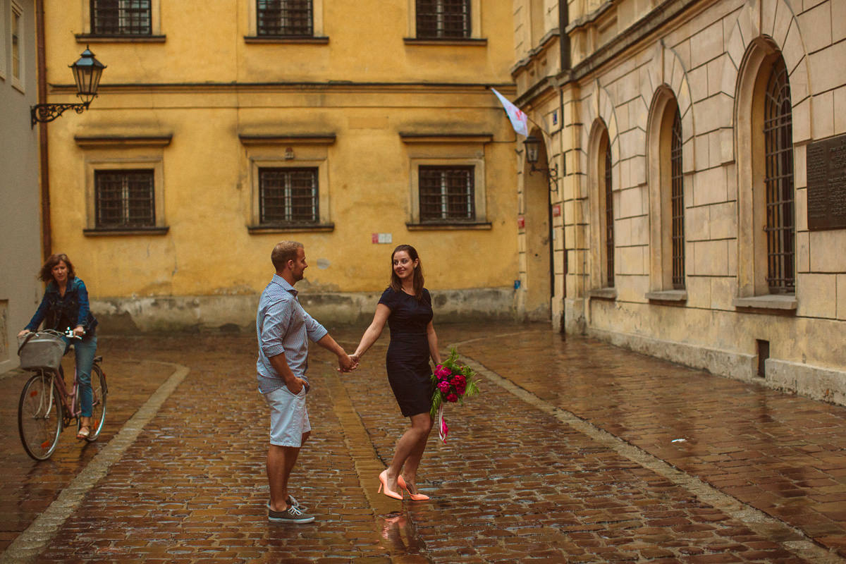 pre wedding destination photography in old town of Krakow Poland