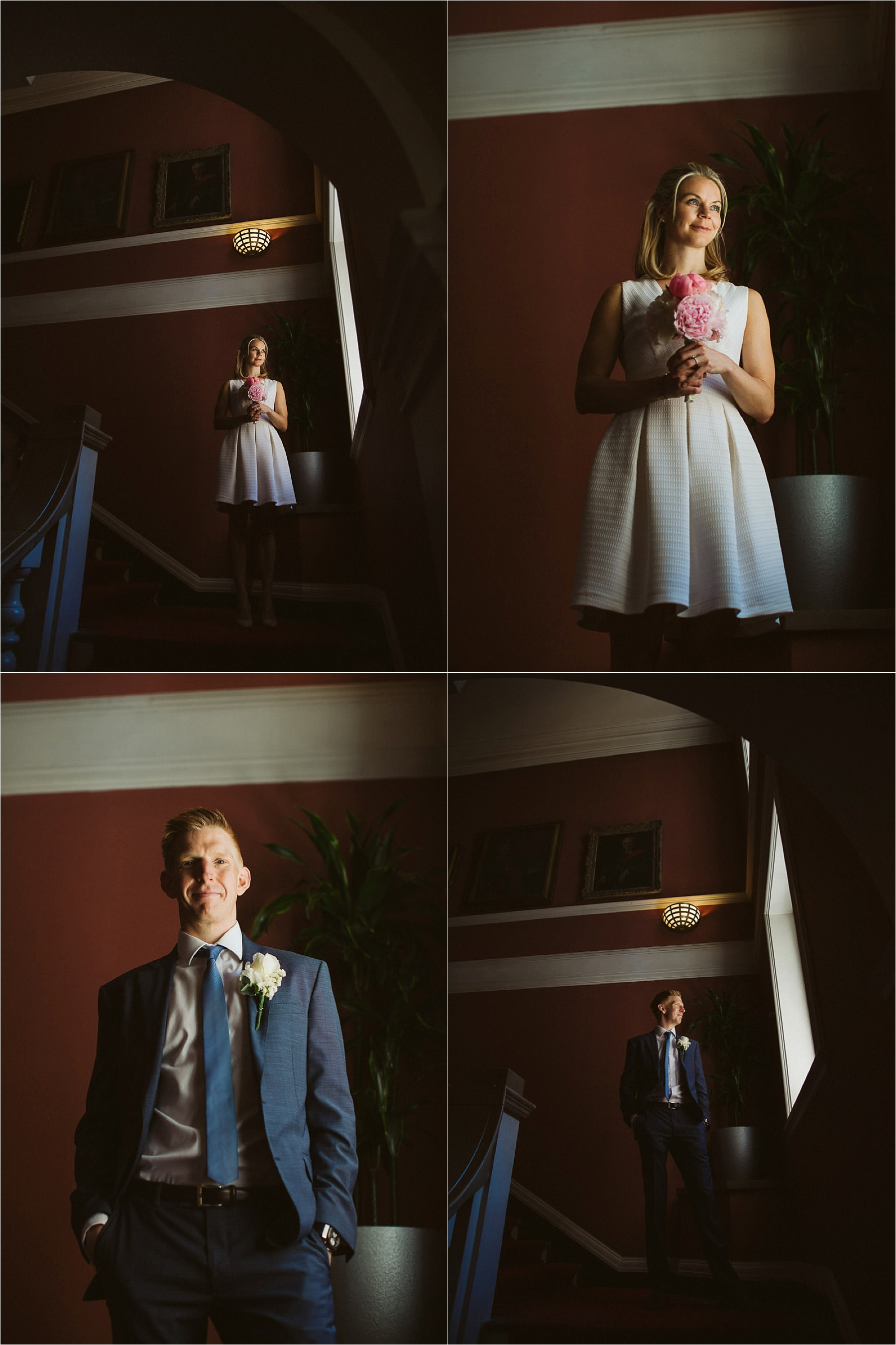 couple portraits taken during a civil wedding at chelsear register office