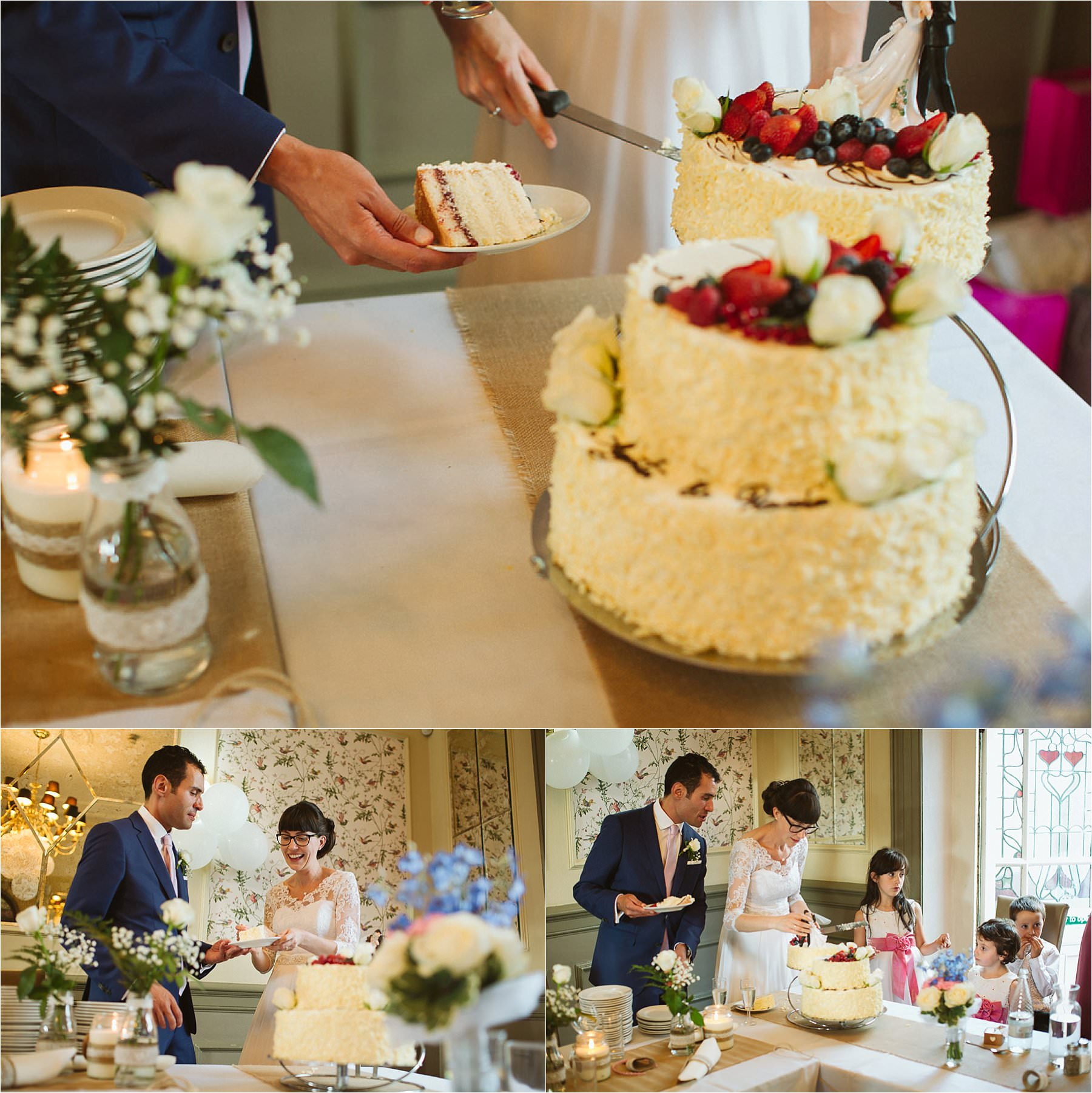 Cake cutting at DIY Wedding Little Venice London