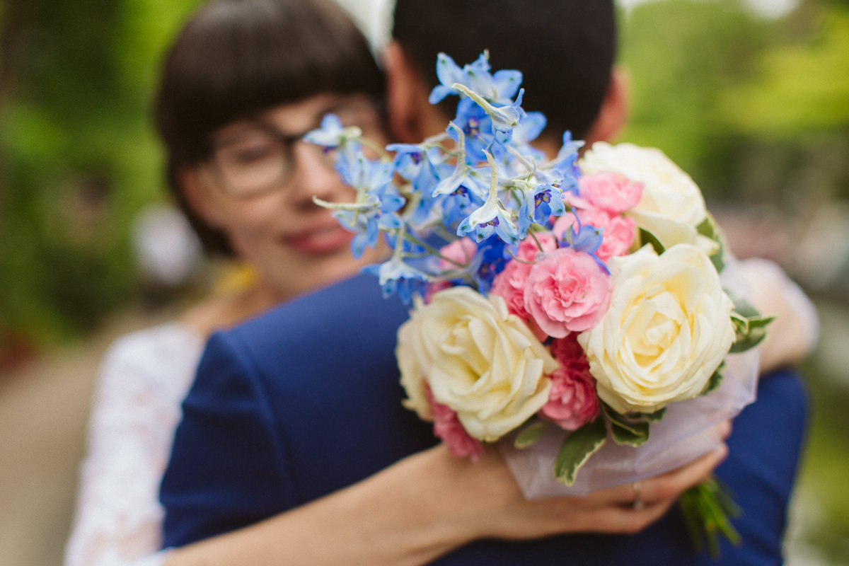 DIY bridal bouquet made for a wedding in Little Venice London